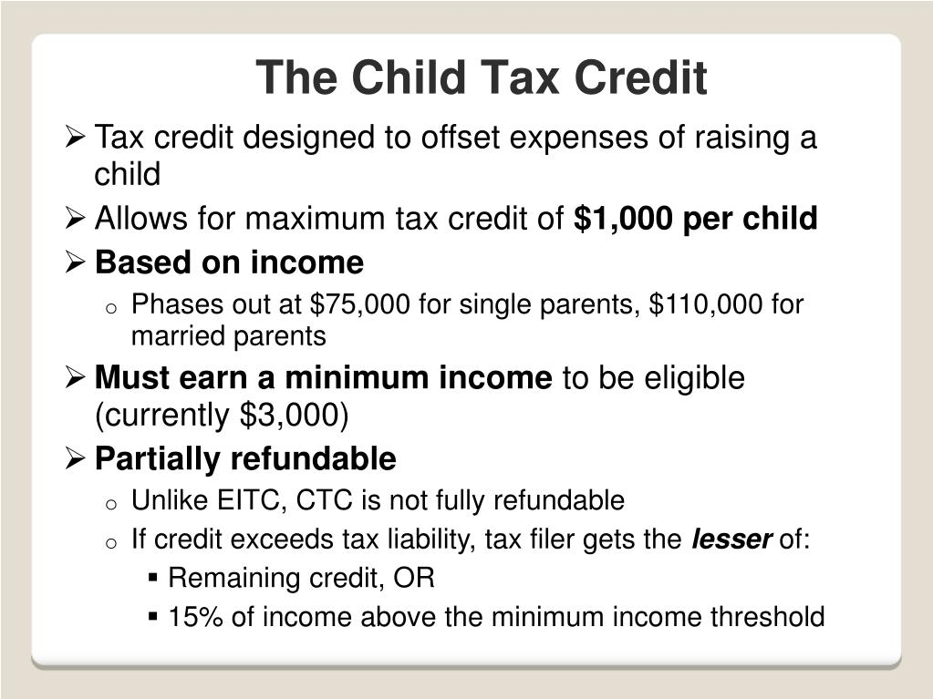 Tax credit designed to offset expenses of raising a child