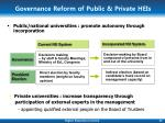 governance reform of public private heis