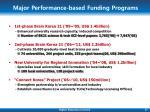 major performance based funding programs