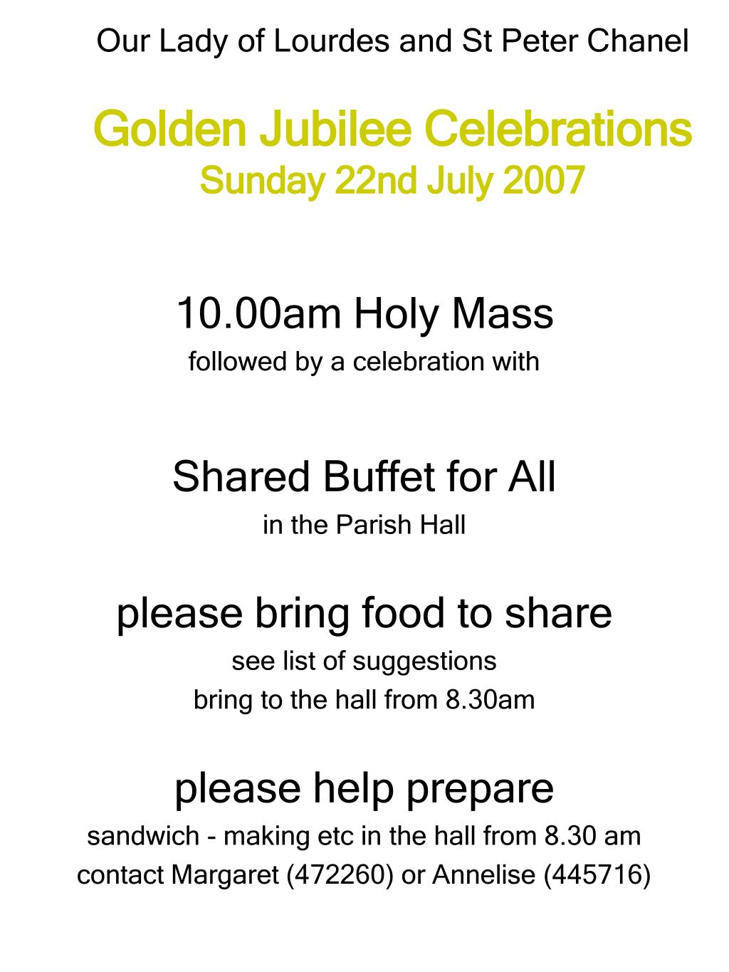our lady of lourdes and st peter chanel golden jubilee celebrations sunday 22nd july 2007 l.
