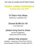 our lady of lourdes and st peter chanel golden jubilee celebrations sunday 22nd july 2007