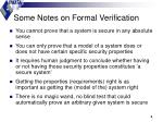 some notes on formal verification