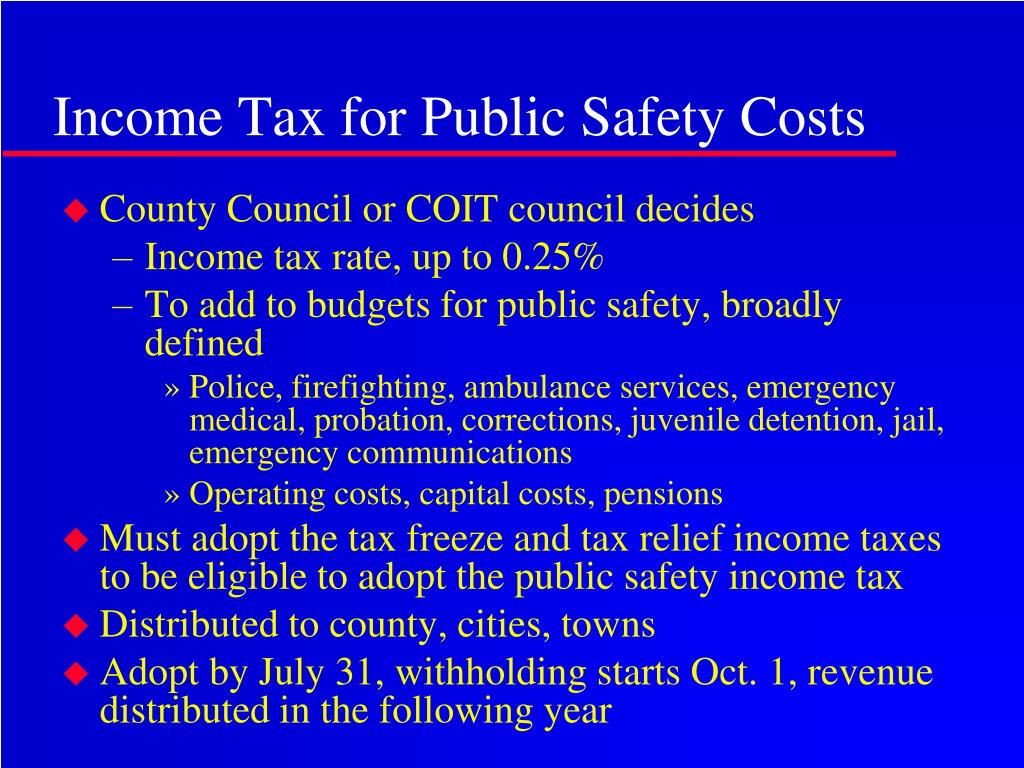 Income Tax for Public Safety Costs