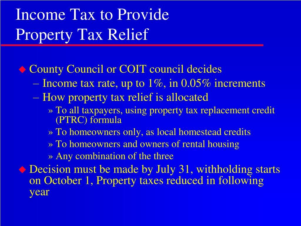 Income Tax to Provide