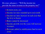 revenue adequacy will the income tax provide the same revenue as the property tax