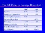 tax bill changes average homestead