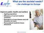 what are the societal needs the challenge for europe