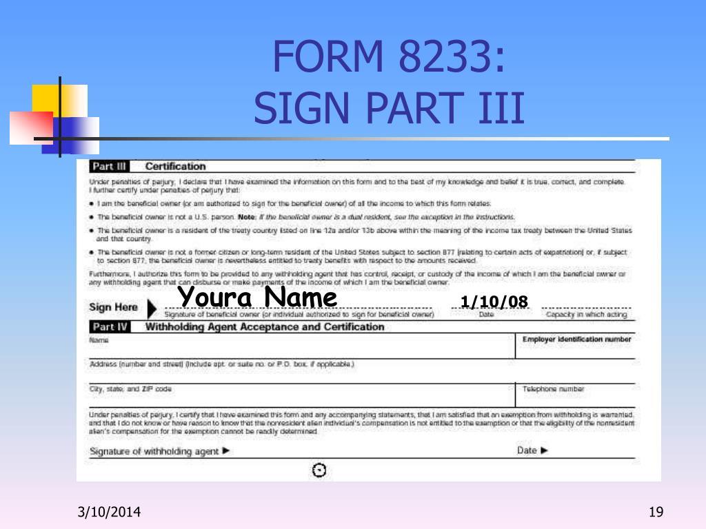 FORM 8233:
