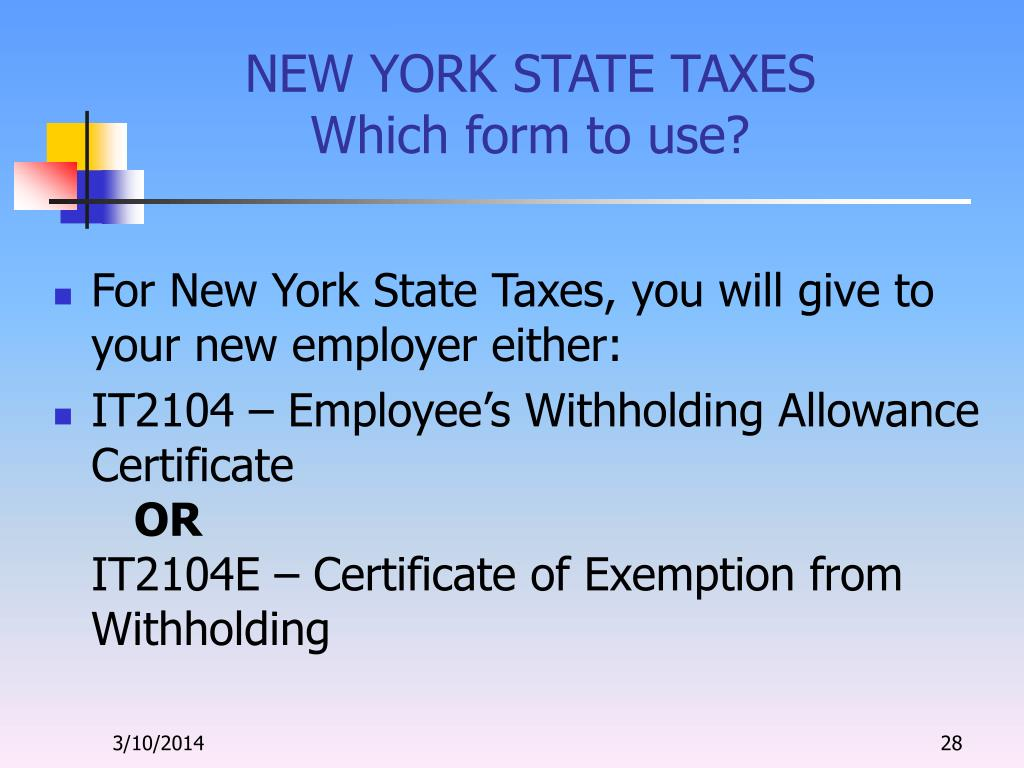 NEW YORK STATE TAXES