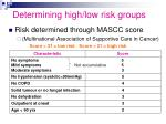 determining high low risk groups