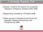 7 corporate taxpayers tto