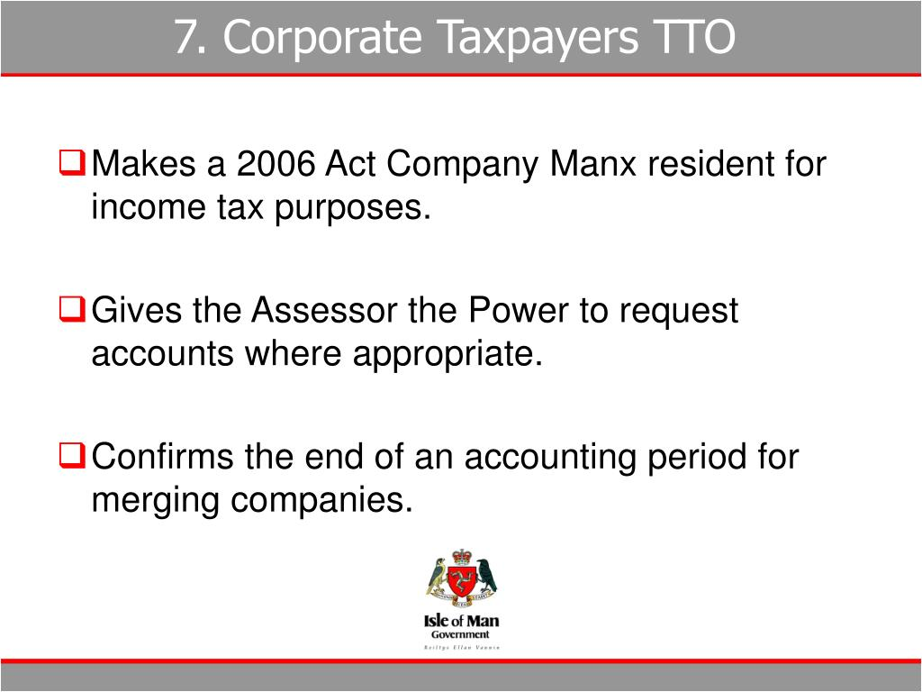 7. Corporate Taxpayers TTO