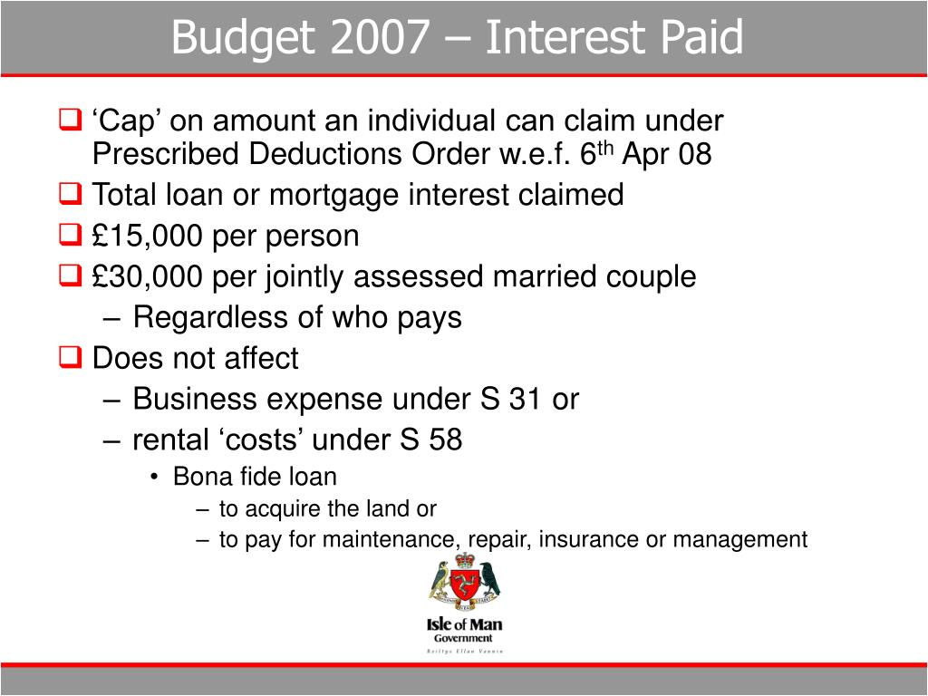 Budget 2007 – Interest Paid