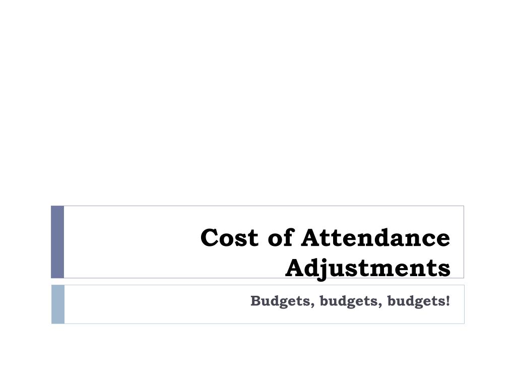 Cost of Attendance Adjustments