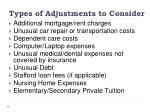 types of adjustments to consider