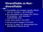 diversifiable vs non diversifiable