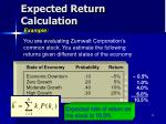 expected return calculation
