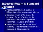 expected return standard deviation