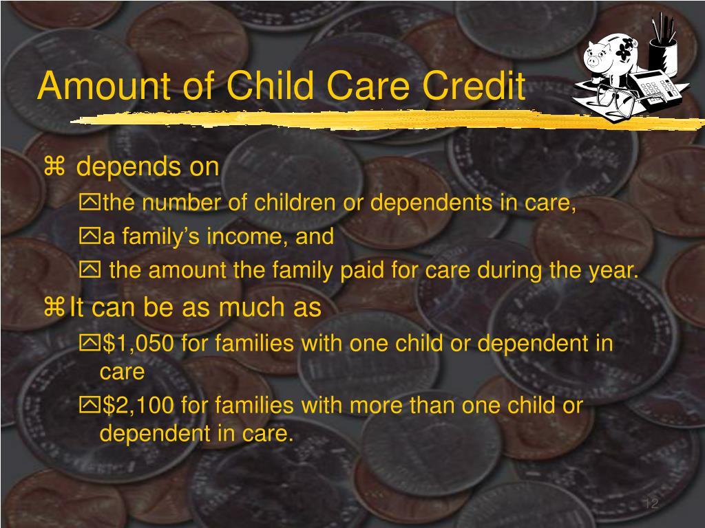 Amount of Child Care Credit