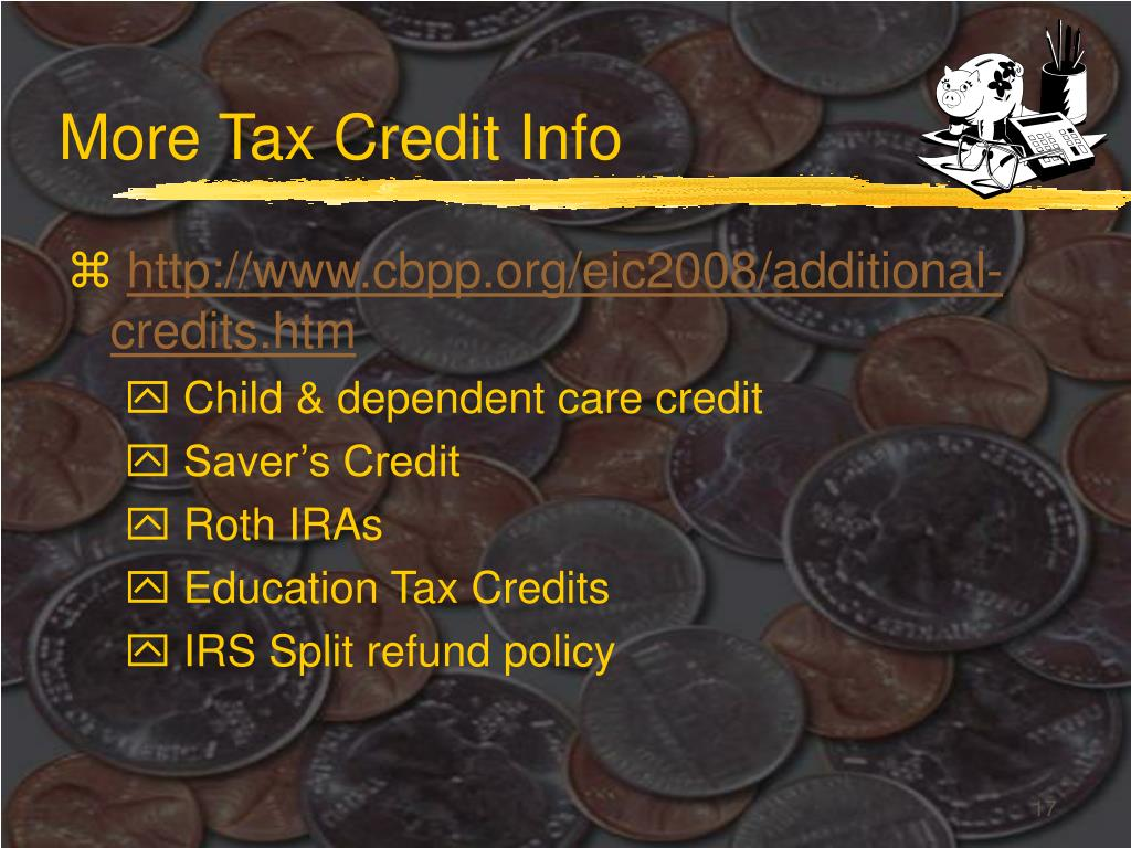More Tax Credit Info