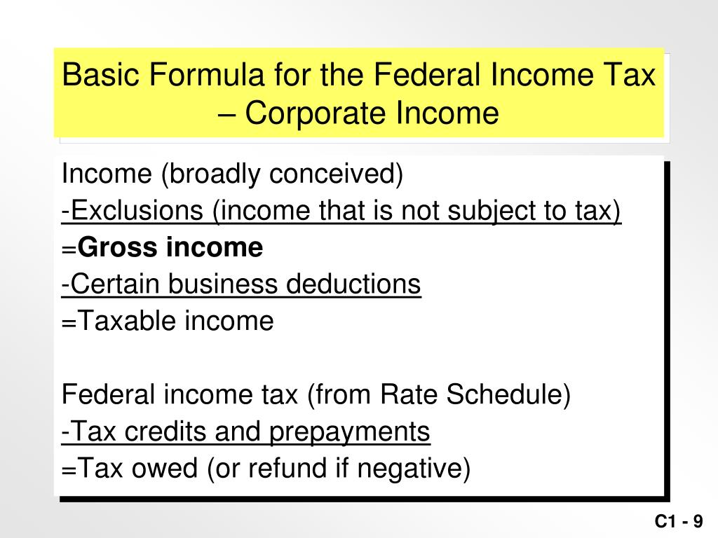 Basic Formula for the Federal Income Tax – Corporate Income