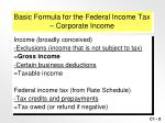 basic formula for the federal income tax corporate income