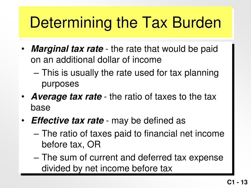 Determining the Tax Burden
