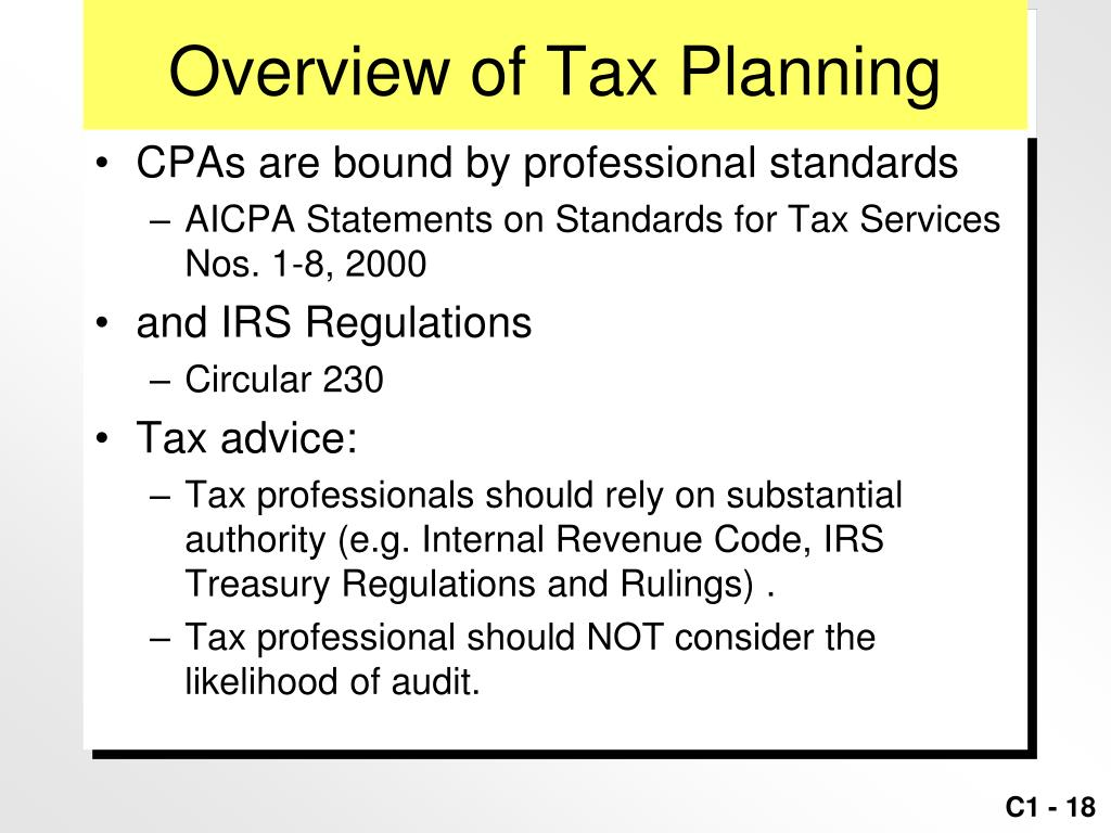 Overview of Tax Planning