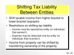 shifting tax liability between entities