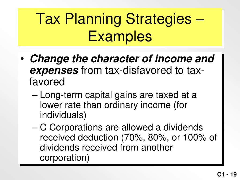 Tax Planning Strategies –