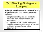 tax planning strategies examples