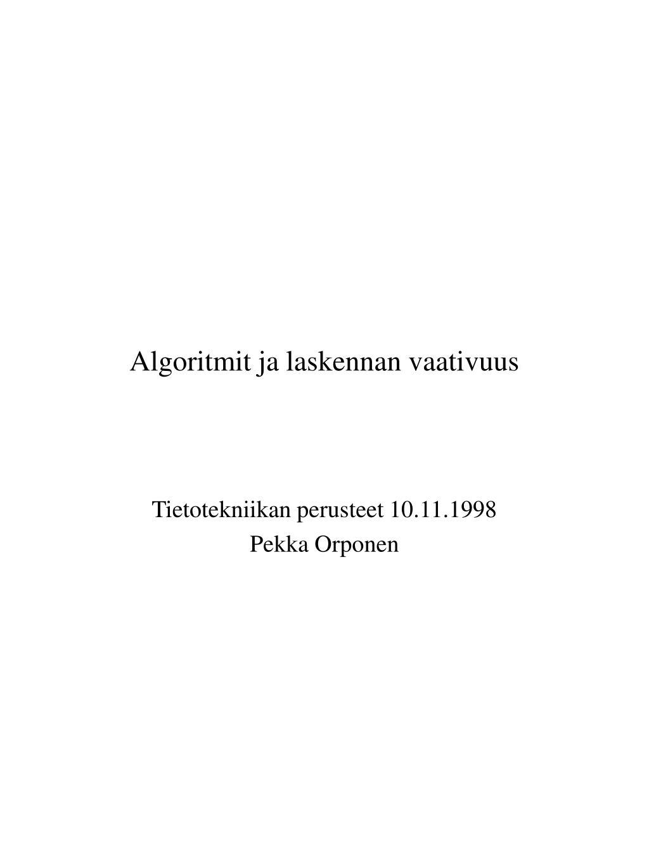 algoritmit ja laskennan vaativuus l.