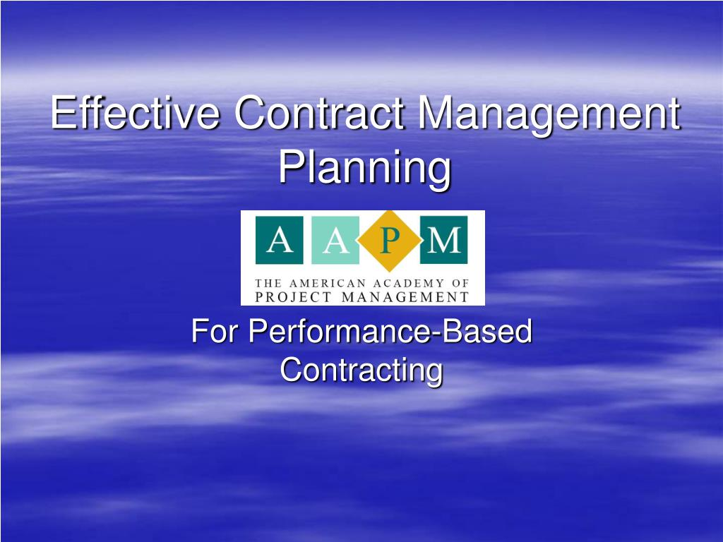 effective contract management planning l.