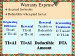warranty expense