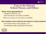 care in the schools school nurses and others