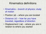 kinematics definitions