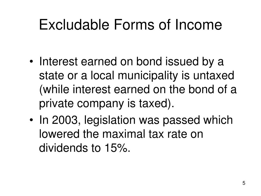 Excludable Forms of Income