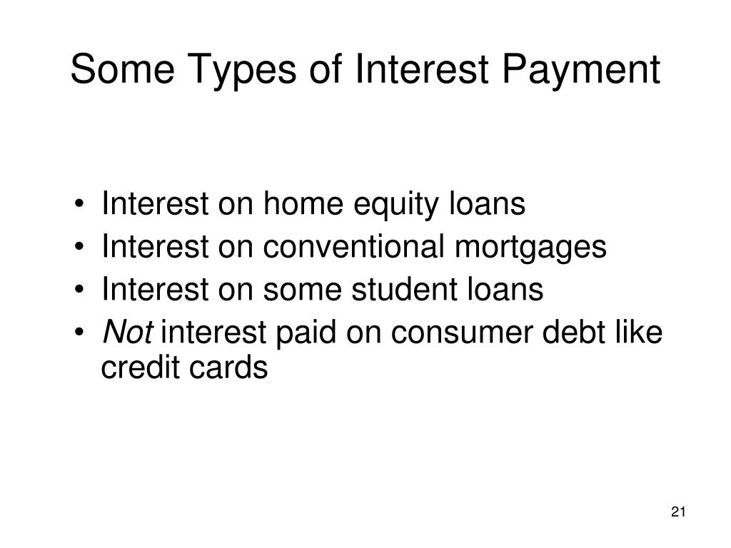Some Types of Interest Payment