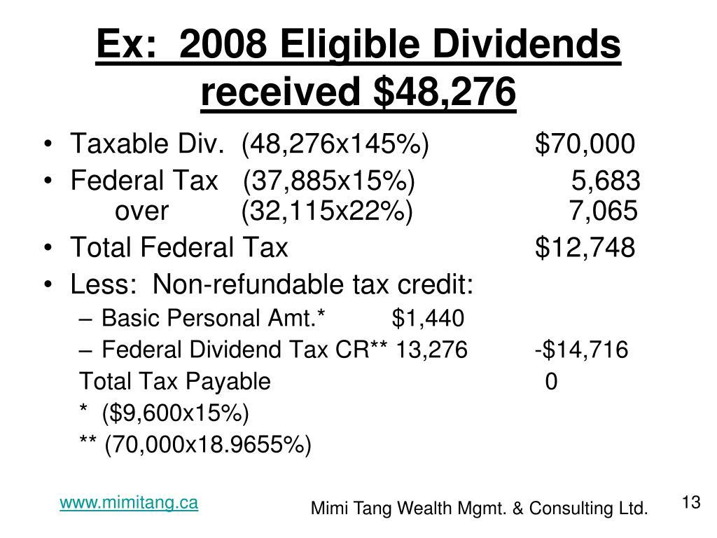 Ex:  2008 Eligible Dividends received $48,276