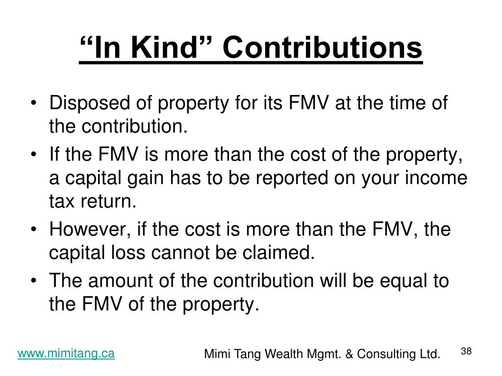 """""""In Kind"""" Contributions"""