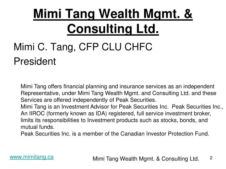 Mimi tang wealth mgmt consulting ltd