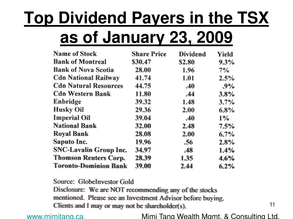 Top Dividend Payers in the TSX as of January 23, 2009