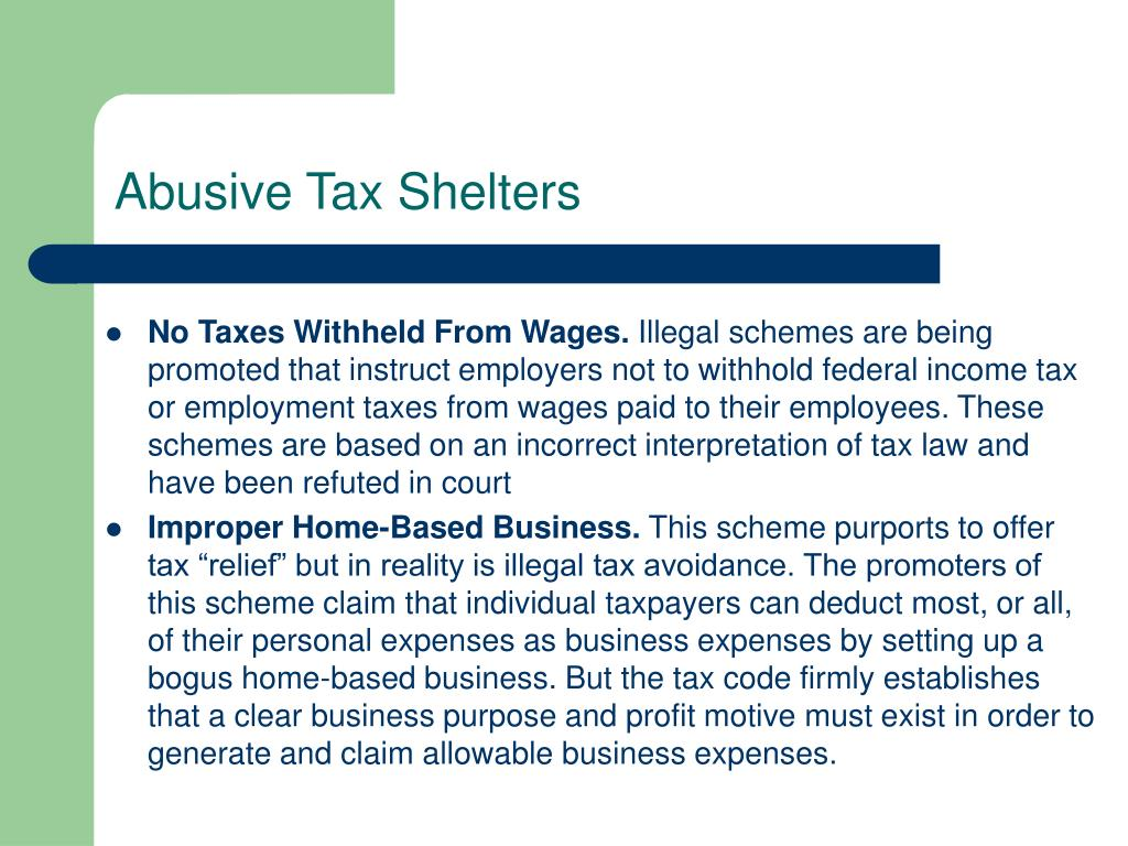 Abusive Tax Shelters