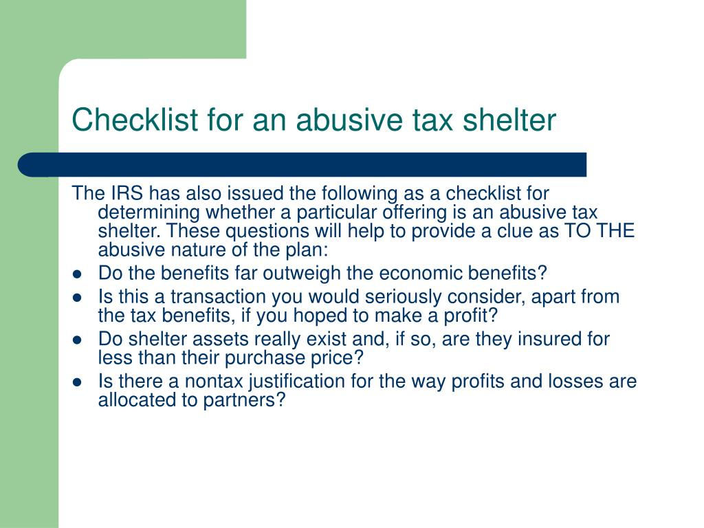 Checklist for an abusive tax shelter