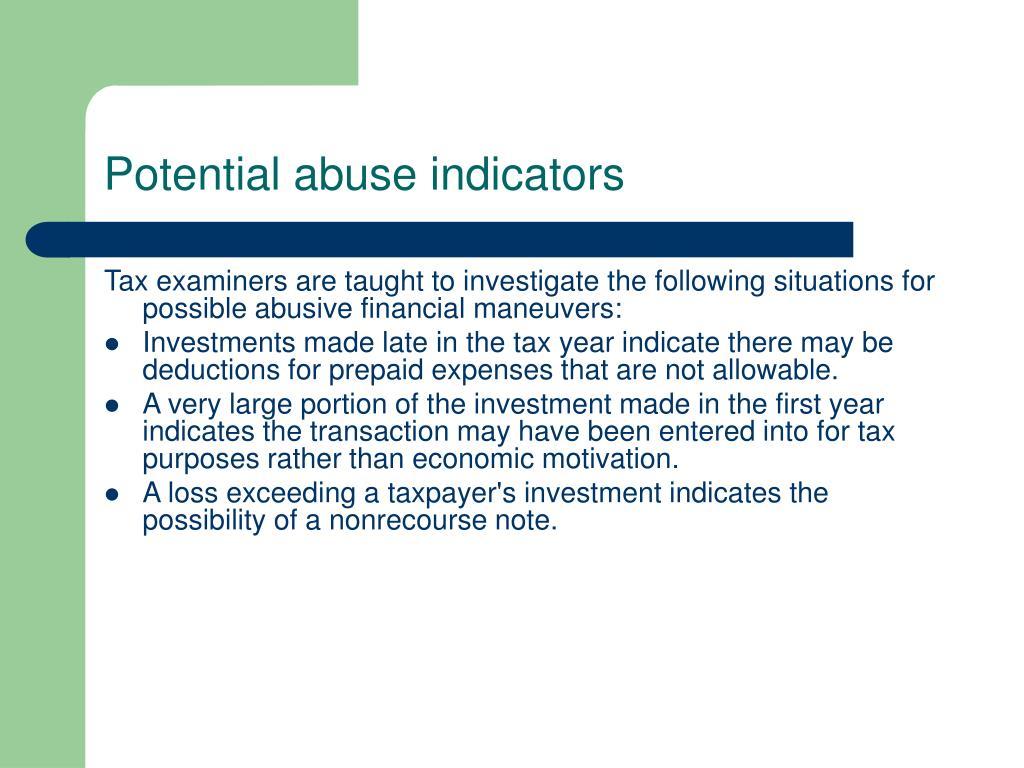 Potential abuse indicators