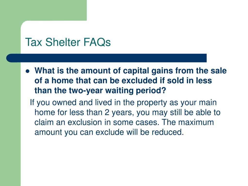 Tax Shelter FAQs