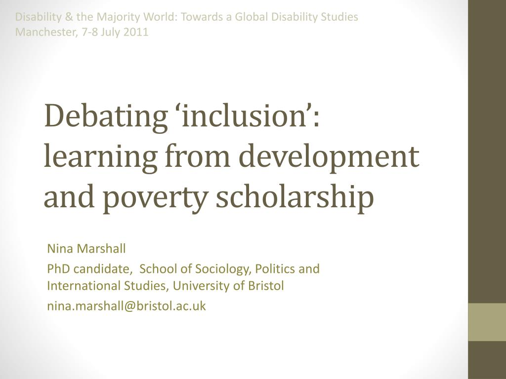 debating inclusion learning from development and poverty scholarship l.