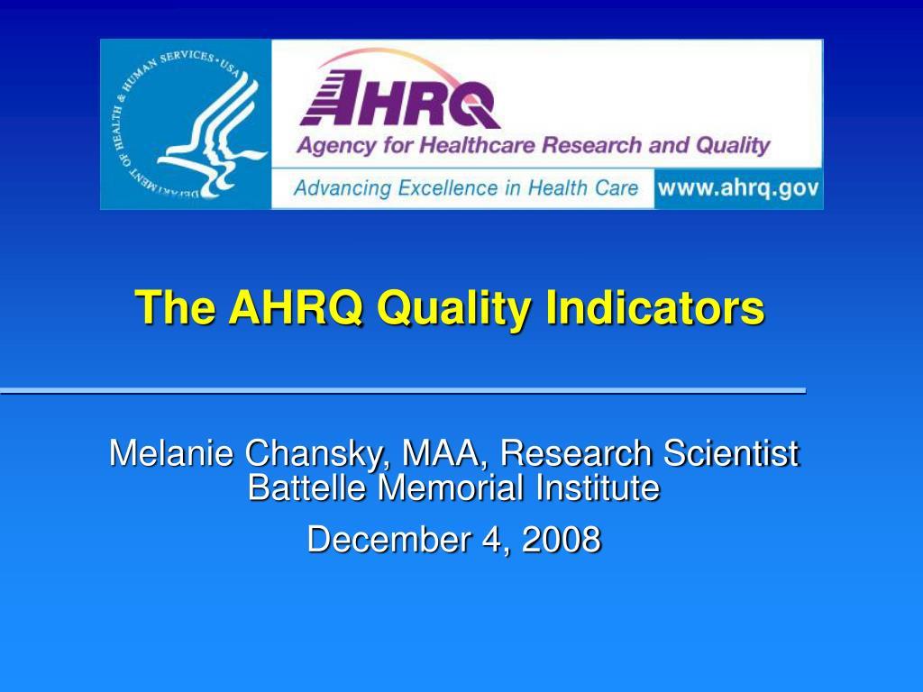 the ahrq quality indicators l.