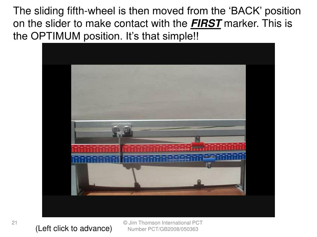 The sliding fifth-wheel is then moved from the 'BACK' position on the slider to make contact with the