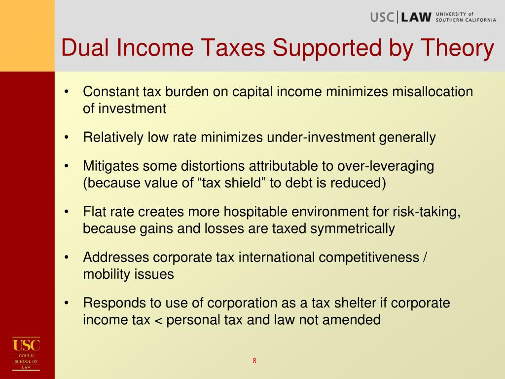 Dual Income Taxes Supported by Theory